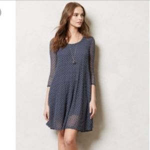 Lilka Anthro Arnica Blue Swing Dress